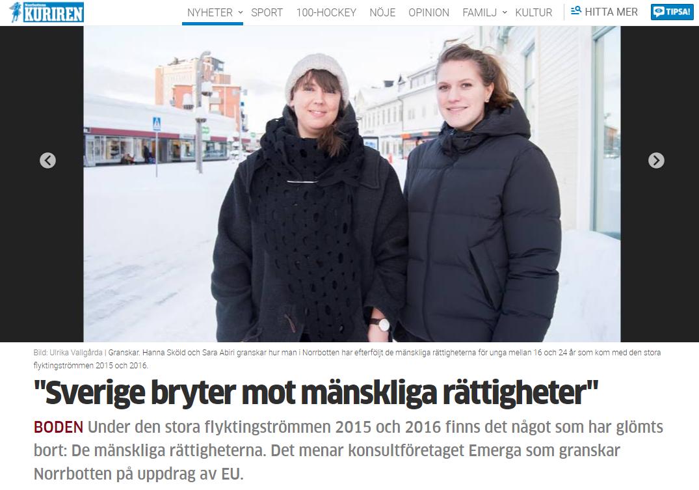 Emergas Hanna och Sara står i i vintrig stadsmiljö.